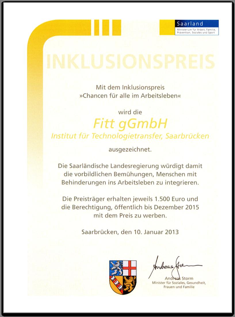 Inklusionspreis Urkunde