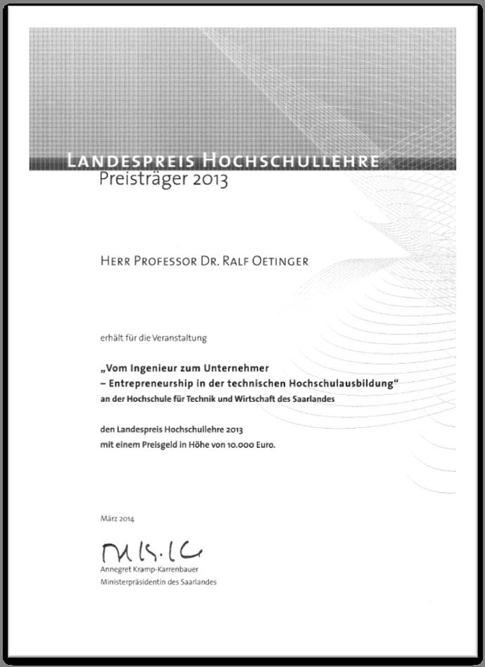 Landespreis Urkunde